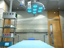 le attrezzature e gli apparecchi medici nella sala operatoria moderna 3d rendono Fotografia Stock Libera da Diritti