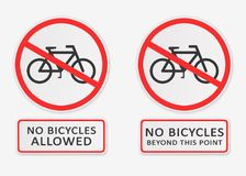 Le ` aucune bicyclettes a permis le ` et le ` aucune bicyclettes au delà des signes de ce ` de point Photo libre de droits
