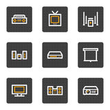 Le audio video icone di Web, grey abbottona la serie Immagini Stock