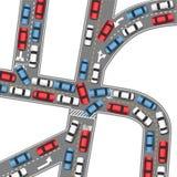 Azionamento occupato delle automobili della strada dell'ingorgo stradale automatico Fotografia Stock