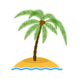 Île avec l'illustration de vecteur de palmier Images stock