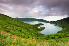 Le Azzorre che stupiscono Lagoa fanno la laguna di Fogo Fotografia Stock Libera da Diritti