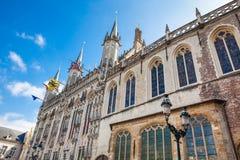Le bâtiment d'hôtel de ville de Bruges images stock