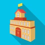 Le bâtiment de l'hôtel de ville Icône simple de Hall Building de ville en Web plat d'illustration d'actions de symbole de vecteur Photo stock