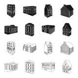 Le bâtiment de musée, un hôtel à trois étages, une écurie à la piste, un cottage résidentiel Architectural et bâtiment illustration de vecteur