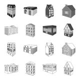 Le bâtiment de musée, un hôtel à trois étages, une écurie à la piste, un cottage résidentiel Architectural et bâtiment illustration stock