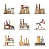 Le bâtiment industriel d'usine et les usines dirigent les icônes plates illustration stock