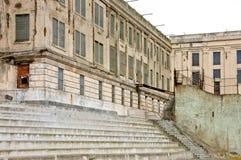 Le bâtiment principal d'Alcatraz ruine la vue arrière Photographie stock