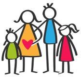 Le bâton coloré simple figure la famille heureuse, mère, père, fils, fille, enfants illustration stock