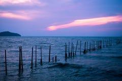 Le bâton en bois est une rangée en mer Images libres de droits