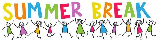 Le bâton simple figure la bannière, enfants heureux sautant, COUPURE d'ÉTÉ colorée de lettres Images libres de droits