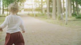 Le bébé blond bouclé marche en parc un jour d'été, tir de mouvement lent banque de vidéos