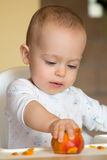 Le bébé curieux examine une pêche Photographie stock