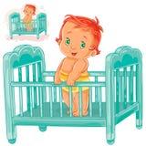 Le bébé d'illustration de vecteur est dans son berceau Images libres de droits