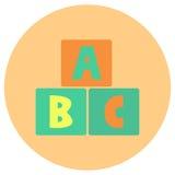 Le bébé de bloc d'alphabet joue l'icône mignonne dans le style plat à la mode d'isolement sur le fond de couleur Symbole de bébé  Image libre de droits