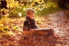 Le bébé garçon d'automne envisagent de lire un livre sous un arbre Image libre de droits