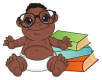Le bébé garçon de nègre a lu un livre illustration stock