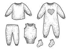Le bébé, nourrisson vêtx l'illustration, dessin, gravure, encre, schéma, vecteur illustration libre de droits