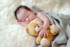 le bébé nouveau-né dort avec un ours de nounours de jouet Image stock