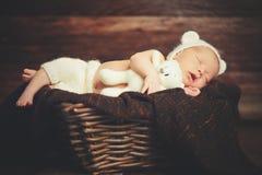 Le bébé nouveau-né mignon dans l'ours que le chapeau dort dans le panier avec le nounours de jouet soit Photographie stock libre de droits