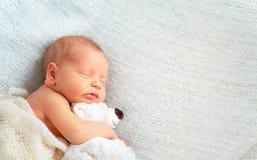 Le bébé nouveau-né mignon dort avec l'ours de nounours de jouet Image libre de droits