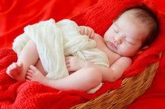 Le bébé nouveau-né souriant dans un rêve, bébé nouveau-né est sommeil Image stock