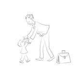 Le bébé rencontre le papa, qui est venu à la maison du travail Croquis de vecteur Photo libre de droits