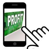 Le bénéfice sur des affichages de carte de débit de crédit gagnent l'argent Photographie stock
