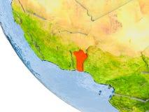 Le Bénin sur le globe Photo stock