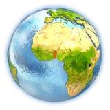 Le Bénin sur le globe d'isolement illustration stock