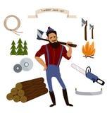 Le bûcheron, le bois de construction et les outils de travail du bois dirigent des icônes sur le fond blanc Images libres de droits