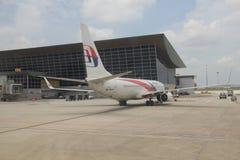 Le B737 de Malaysia Airlines dès l'arrivée à KLIA Photos libres de droits