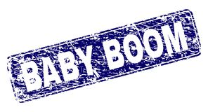 Le BABY BOOM rayé a encadré le timbre arrondi de rectangle illustration stock