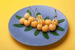 Le bacche ingialliscono la ciliegia sul piatto blu su fondo giallo, buon concetto di prodotto Fotografie Stock