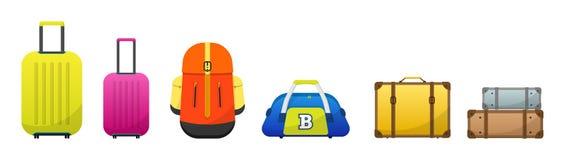 Le bagage de voyage a placé pour des vacances, des vacances et le voyage image stock