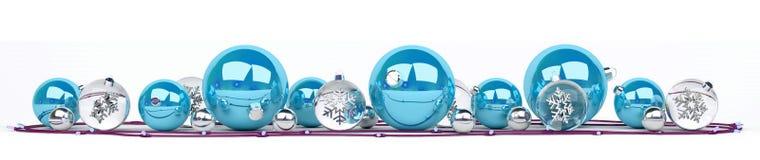 Le bagattelle di natale bianco e del blu hanno allineato la rappresentazione 3D Immagini Stock