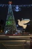 Le Bahai fait du jardinage dans la colonie allemande décorée pour les vacances, à Haïfa, l'Israël Photos libres de droits