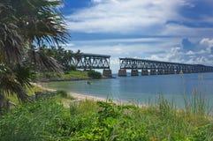 Pont en rail vers Key West images libres de droits