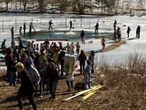 Le bain d'ours blanc de carnaval de l'hiver Photos libres de droits