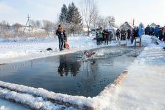 Le bain dans l'eau glaciale, le 24 janvier 2016 Image stock