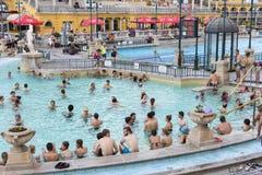 Le bain médicinal de Szechenyi le plus ancien est le plus grand bain médicinal en Europe Images libres de droits