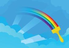 Le balai peint l'arc-en-ciel sur le ciel Images libres de droits