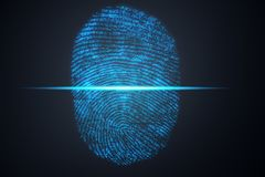 le balayage d'empreinte digitale de l'illustration 3D fournit à l'accès de sécurité l'identification de biométrie Protection d'em Photographie stock