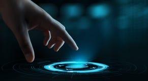 Le balayage d'empreinte digitale fournit à l'accès de sécurité l'identification de biométrie Concept d'Internet de sécurité de te photos stock