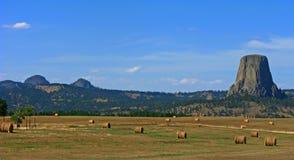 Le balle & i diavoli di fieno torreggiano su, il Wyoming Fotografie Stock