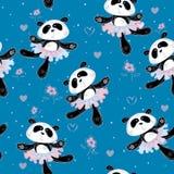 Le ballerine dei panda ballano Reticolo senza giunte Tessuto della stampa per i bambini Vettore royalty illustrazione gratis
