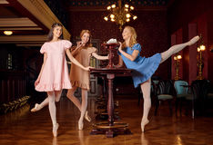 Le ballerine di modo in vestiti colourful vogliono assaggiare una meringa e uno zefiro dolci Fotografie Stock Libere da Diritti