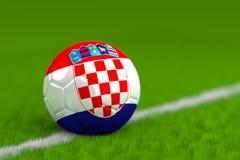 Le ballon de football avec le drapeau croate 3D rendent Photo libre de droits