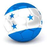 Le ballon de football avec le drapeau hondurien 3D rendent Images stock