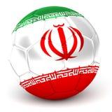 Le ballon de football avec le drapeau iranien 3D rendent Photographie stock